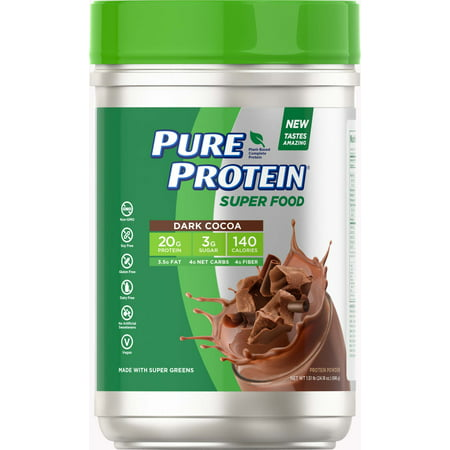 Pure Protein® Super Food Plant-Based Protein Powder, Dark Cocoa, 1 51 pounds