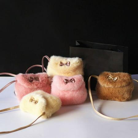 Artificial Handbag (Fashion Girls Kids Purse Bowknot Mini Artificial Fur Handbags Cross Body Comfortable Cute)
