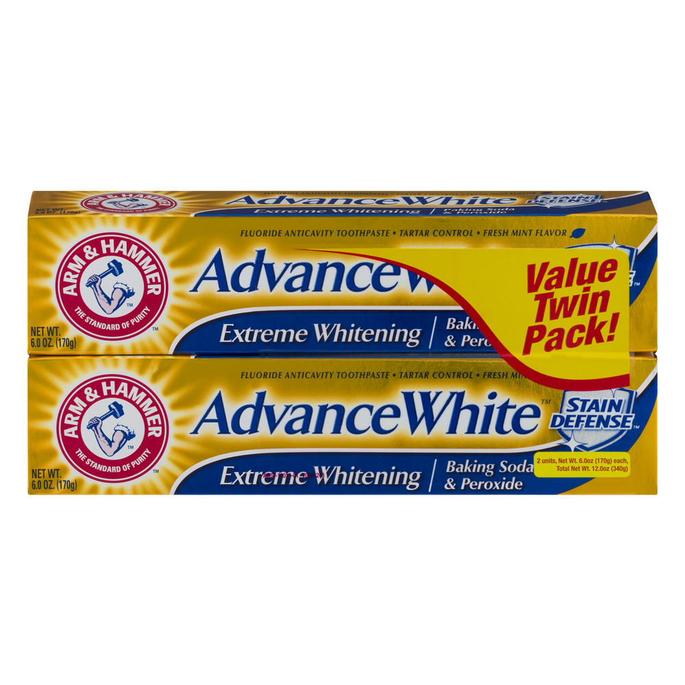 Arm & Hammer Fresh Mint Flavor Advance White Extreme Whitening Stain Defense Value Twin Pack!, 6.0 OZ