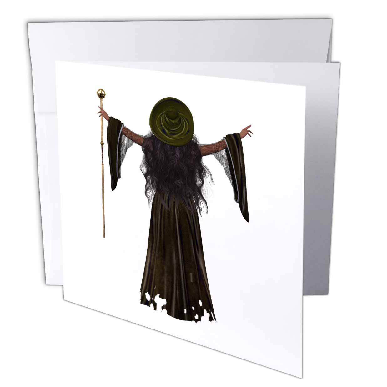 3dRose Halloween Black Dress Witch, Greeting Cards, 6 x 6 inches, set of 12