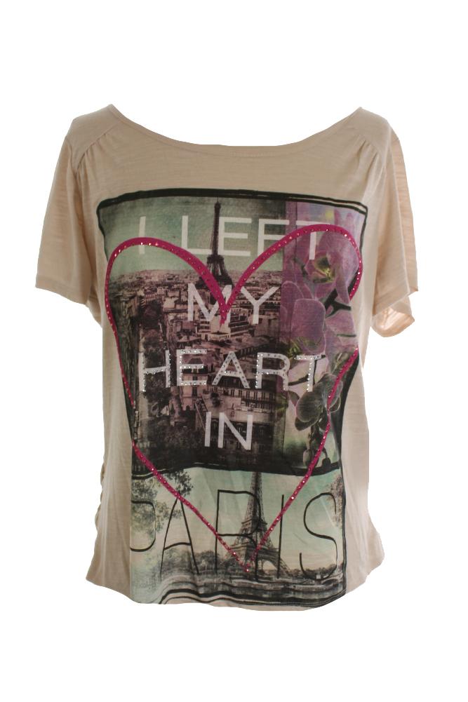 Style Co. Beige Plus Size Paris-Print Graphic Heart In Paradise Tee 0X