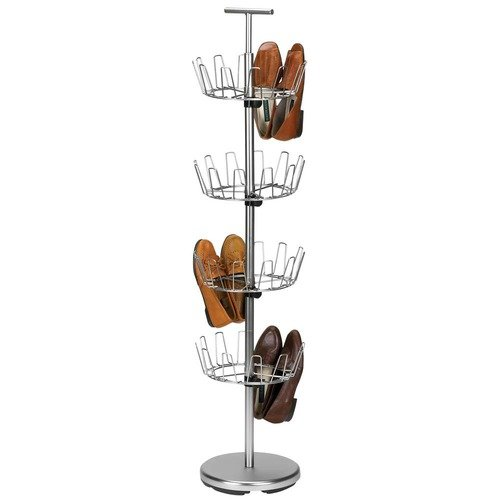 Household Essentials Storage and Organization Four Tier Revolving Shoe Tree in Satin Nickel