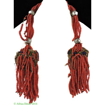 Arussi Beaded Necklace Red Whitehearts Ethiopia African