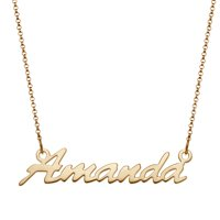 Personalized Women's Silvertone or Goldtone Nameplate Necklace, 18""