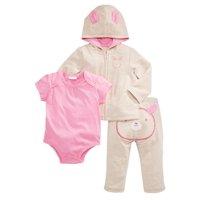 Infant Girls 3 Piece Bunny Rabbit Outfit Beige Hoodie Sweatpants & Bodysuit