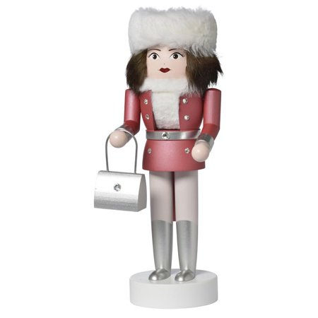 KWO Shopping Girl Jasmin with Fur Hat and Purse German Wood Christmas Nutcracker