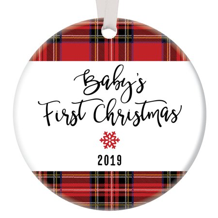Plaid Baby's First Christmas Ornament 2019, New Baby Boy Red Plaid Porcelain Ornament, 3