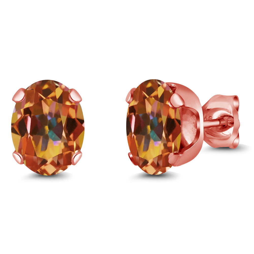 2.60 Ct 8x6mm Ecstasy Mystic Topaz 18K Rose Gold Plated Silver Stud Earrings