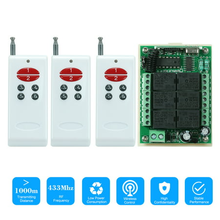 433Mhz DC 12V 6CH Channel Universal 10A Relay Wireless RF Remote Control Switch Receiver Module and 3PCS 6 Key RF 433 Mhz Transmitter Fixed Code (2262 Chip) Remote Controls Smart Home (Vextra 6 In 1 Universal Remote Codes)