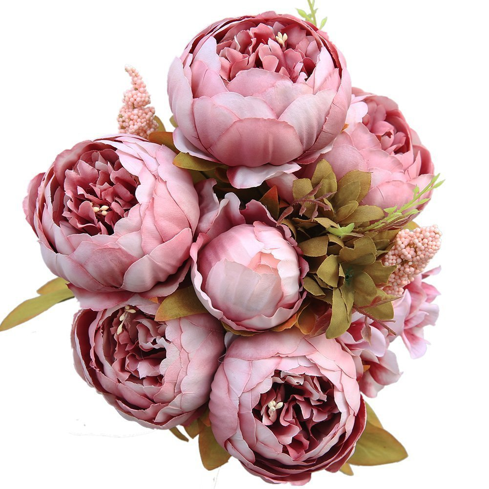 Lingstar Artificial Fake Peony Silk Flowers Bouquet For Decoration