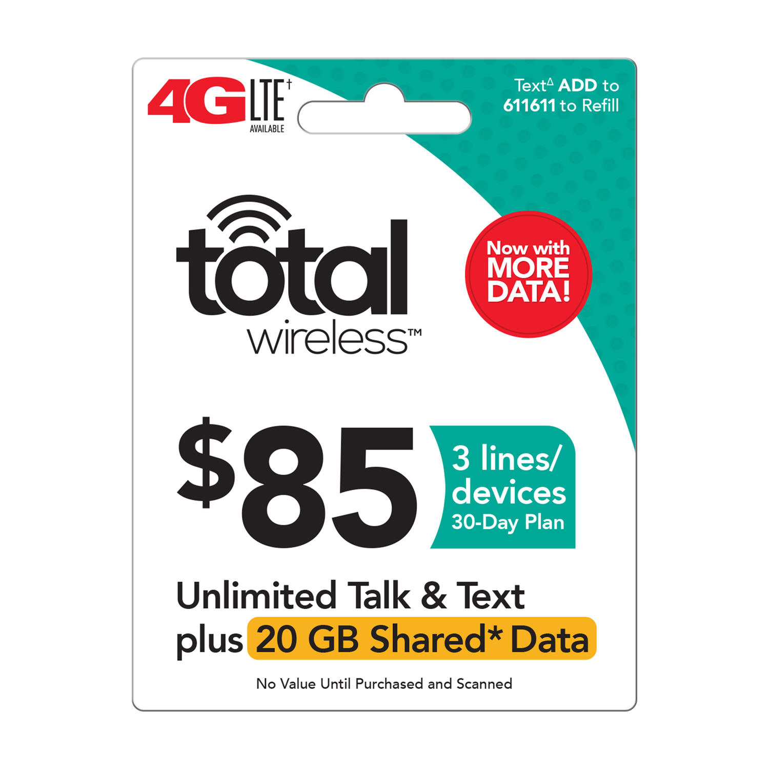 Total Wireless $85 Shared* Family Plan (Email Delivery)