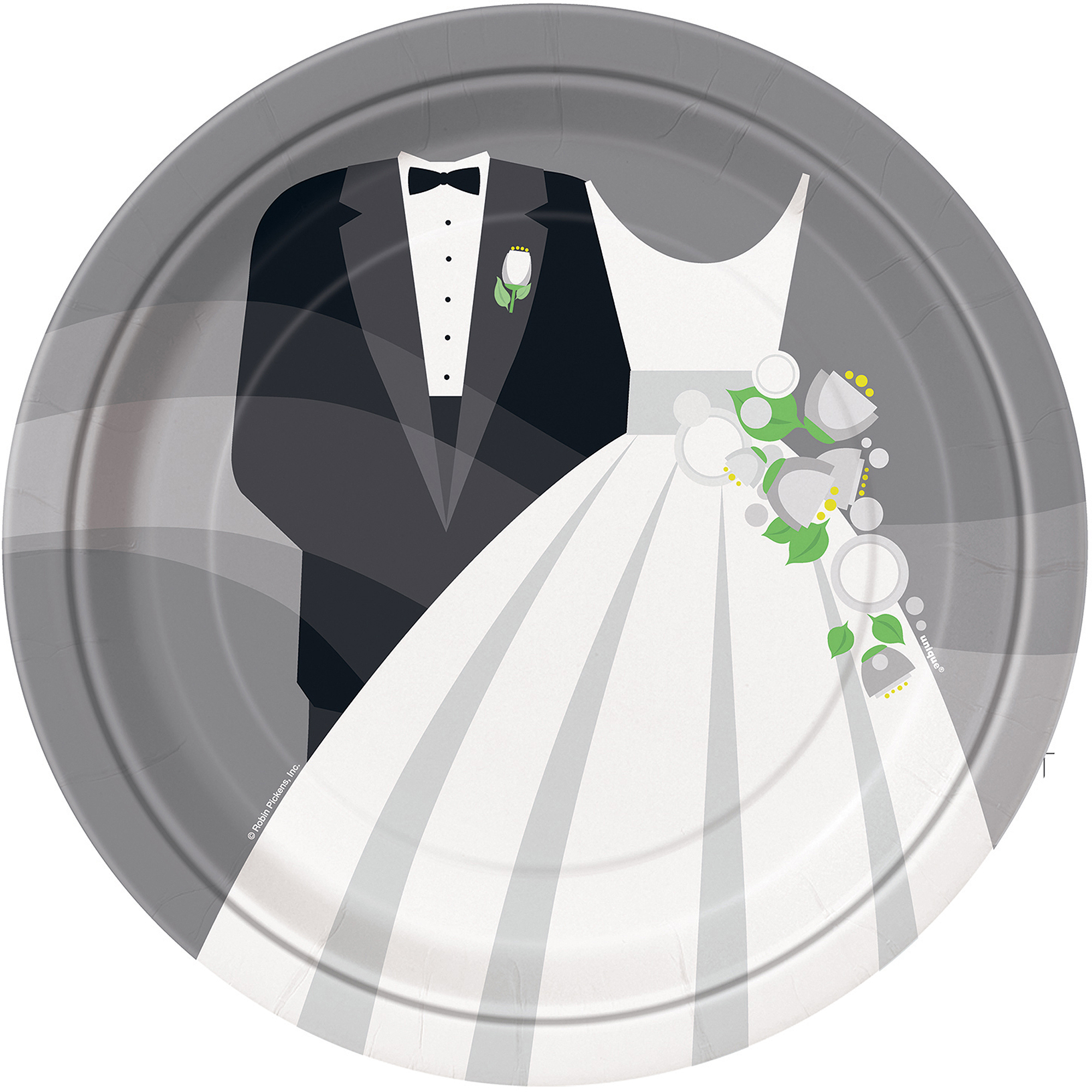 "9"" Wedding Paper Dinner Plates, Silver, 8ct"