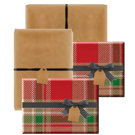 Set of 4 (2 Rustic Christmas Plaid & 2 Natural Kraft) Holiday/Christmas Deluxe- Gift Wrap Wrapping Paper with Gift Tags