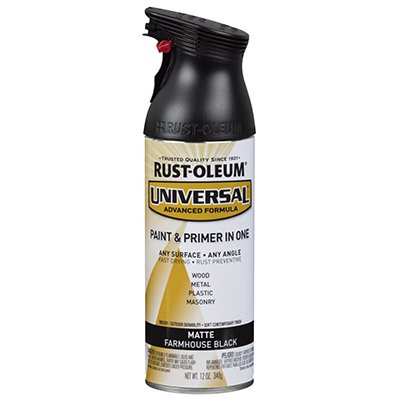 Universal 1-Coat Spray Paint, Matte Farmhouse Black, 12-oz. Aerosol