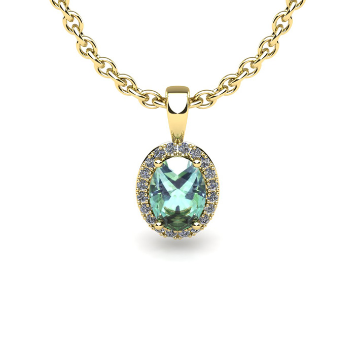 1 2 Carat Oval Shape Green Amethyst and Halo Diamond Necklace In 14 Karat Yellow Gold With 18 Inch Chain by SuperJeweler