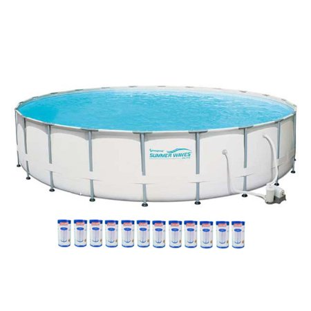 Summer waves elite 22 39 metal frame above ground pool set - Summer waves pool ...