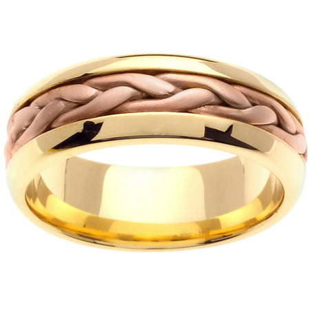 18K Two Tone Gold French Braid Handmade Comfort Fit Women's Wedding Band (7mm)