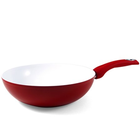 Bialetti Aeternum Red Ceramic And Silicone Stir Fry Pan