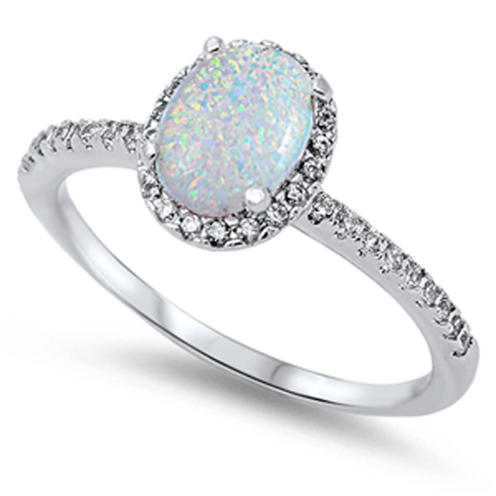 Sterling Silver White Simulated Opal Solitaire Clear CZ Halo Wedding Ring ( Sizes 4 5 6 7 8 9 10 11 12 ) Rings by Sac Silver (Size 12)