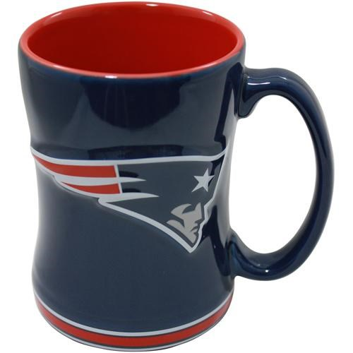 New England Patriots 15 Ounce Sculpted Logo Relief Coffee Mug