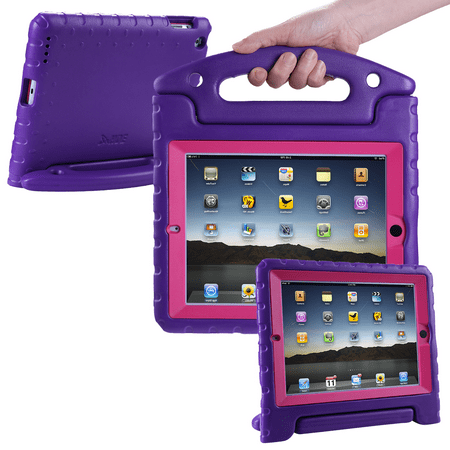 check out 6cc44 a4cfc HDE iPad 2 3 4 Bumper Case for Kids Shockproof Hard Cover Handle Stand with  Built in Screen Protector for Apple iPad 2nd 3rd 4th Generation (Purple ...