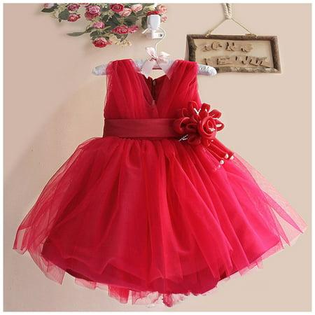 e595621f12be FREE FISHER - Girls Flower V-neck Dress for School Girl Wedding ...