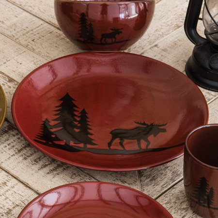 Moose Stoneware - Moose and Bear Lodge Stoneware Moose Dinner Plate - Rustic Kitchen Tableware
