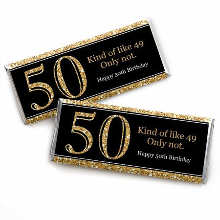 Adult 50th Birthday - Gold - Candy Bar Wrappers Birthday Party Favors - Set of - Ideas For 50th Birthday Party