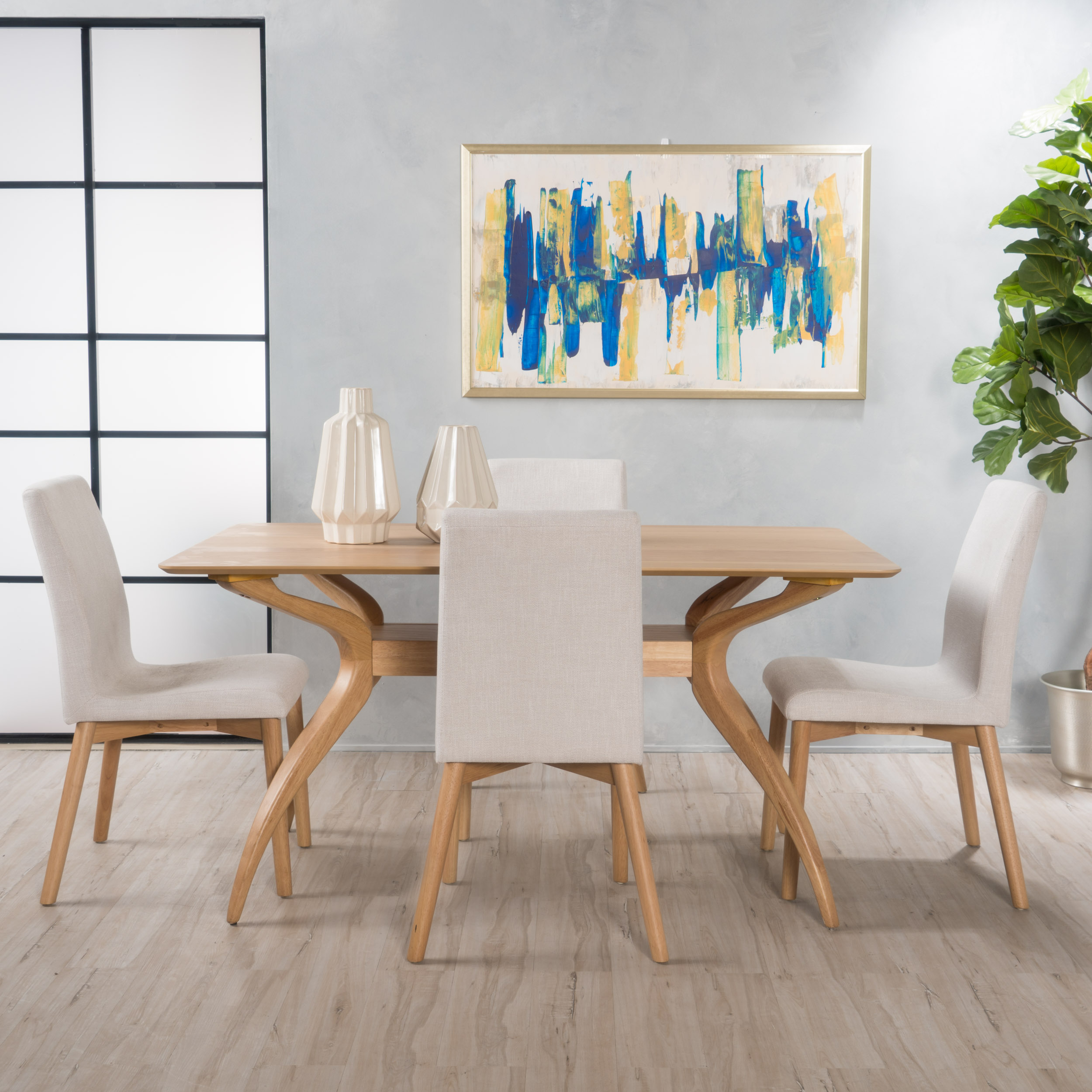 Noble House Keaton Mid-Century Modern Rectangular 5 Piece Wood Dining Set, Natural Oak, Light Beige