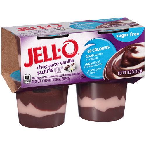 JELL-O Sugar Free Chocolate Vanilla Swirls Reduced Calorie Pudding Snacks, 4 count, 14.5 oz