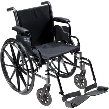 Drive Medical Cruiser III Light Weight Wheelchair with Flip Back Removable Desk Arms and Swing Away Footrest