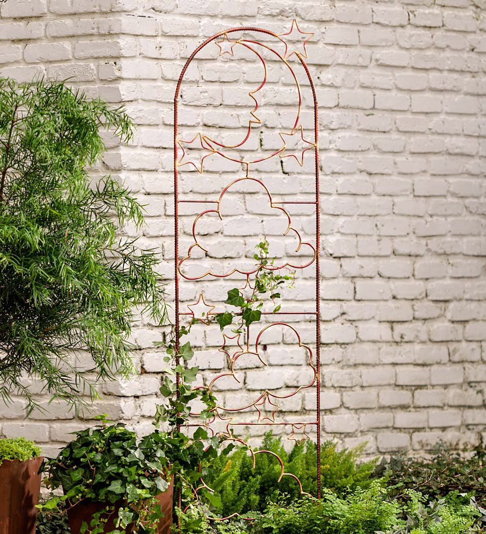 metal wall trellis handmade metal garden trellis with celestial design 4100