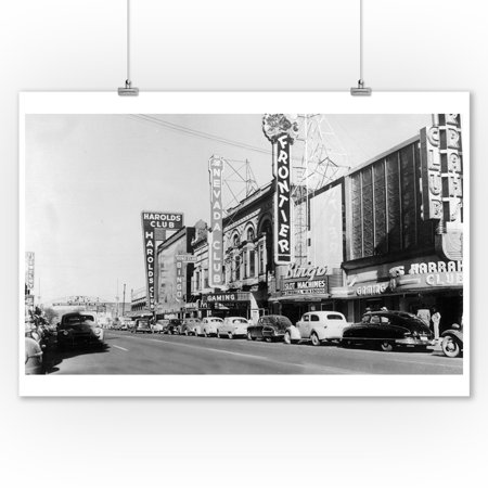 Reno, Nevada - Exterior View of the Gaming Clubs - Vintage Photograph (9x12 Art Print, Wall Decor Travel - Reno Nevada Usa Framed