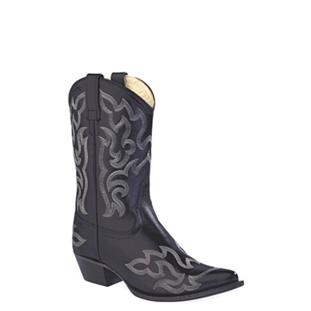 Old West Black Womens Leather 10in Pointed Toe Cowboy Western Boots 5.5 (Famous Black Cowboys Of The Old West)