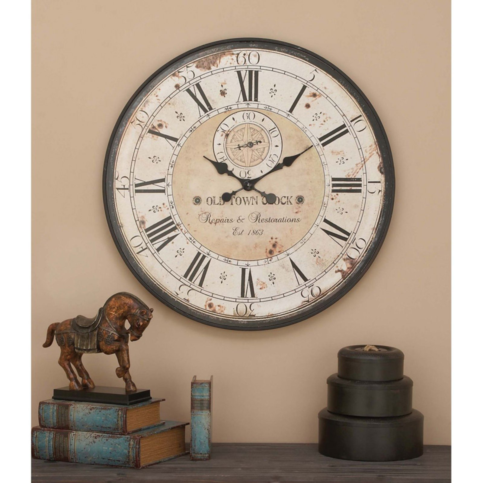 Decmode Wood and Metal Wall Clock, Multi Color