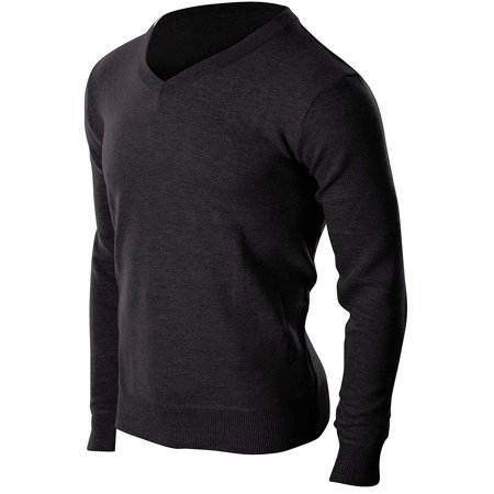 Mens Classic V-neck Sweater - Enimay Men's Business Casual Dress Quality Soft Fall Winter Cozy V-Neck Sweater Black Size L