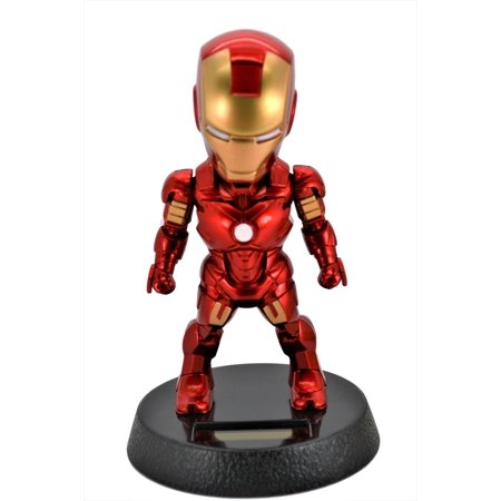 Marvel Avengers 5-Inch Iron Man Solar Powered Bobble-Head Action Relaxation Toy For Car Home Office.Limited Edition. (Avengers 2 Iron Man Suit)