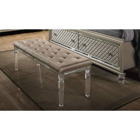 Aviv Bedroom & Living Room Bench, Champagne Faux Leather Upholstery,  Acrylic Frame & Legs, 54\
