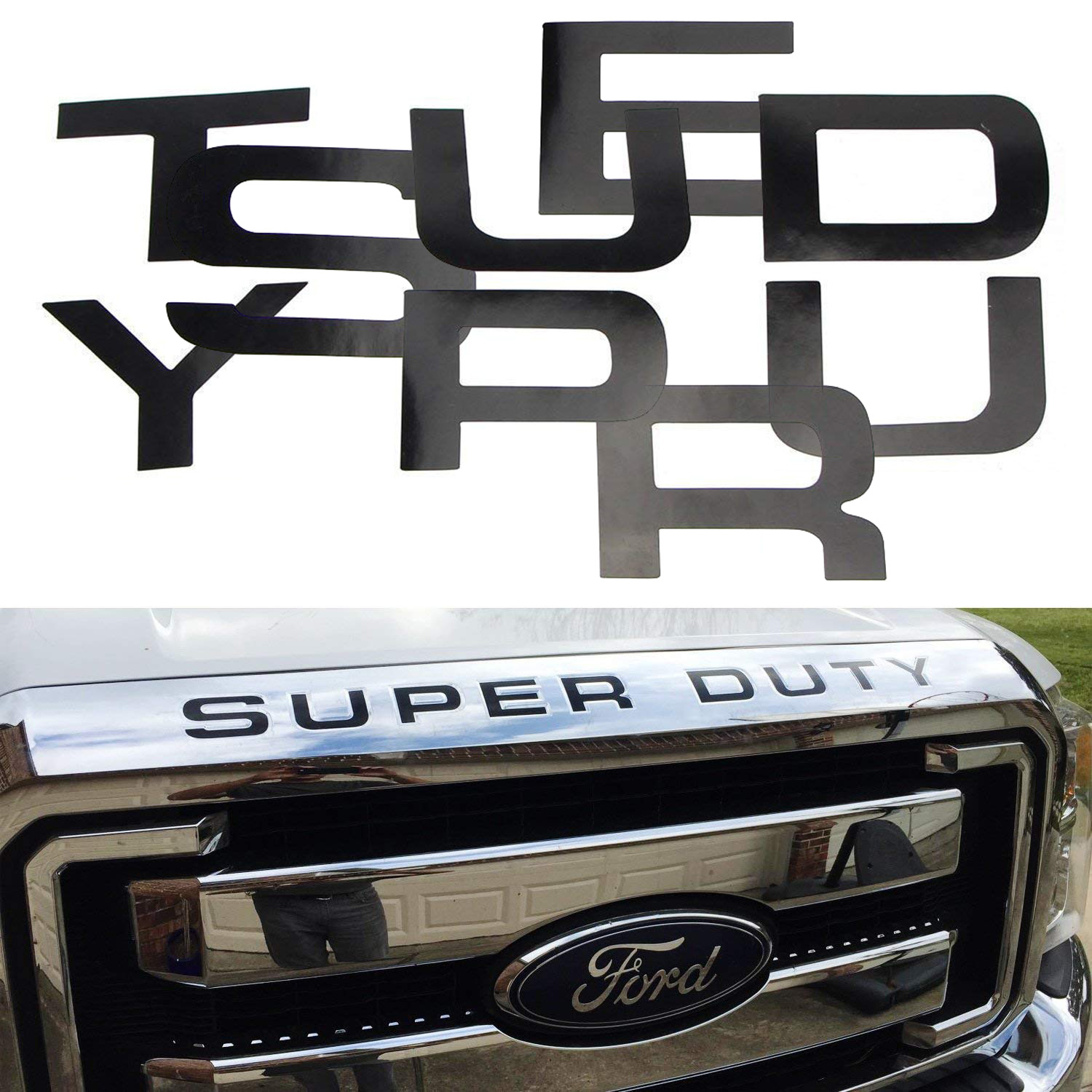 Glossy Black Vinyl Letters Insert Decal For 2008-2016 Ford Super Duty Front Hood