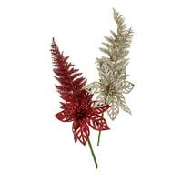 Glitter Christmas Poinsettia Picks with Fern, 14-Inch, 2-Piece