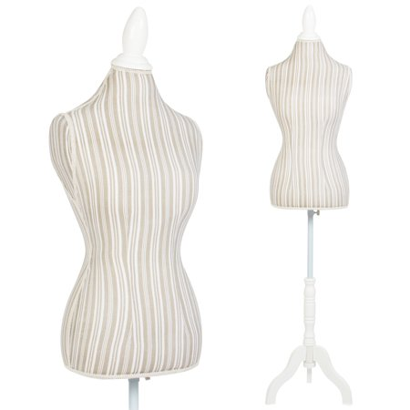 Female Mannequin Torso Dress Form Display W  White Tripod Stand Designer Pattern