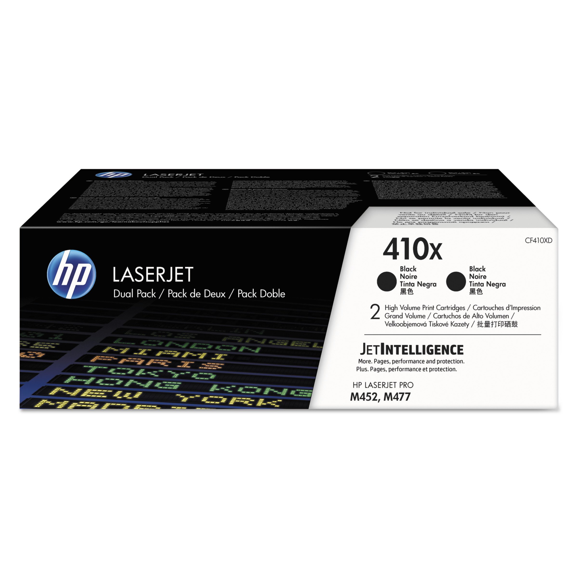 HP 410X, (CF410X-D) 2-pack High Yield Black Original LaserJet Toner Cartridges -HEWCF410XD