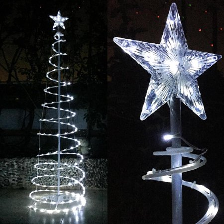 Yescom 6ft 182 LED Spiral Christmas Tree Light Star Topper Cool White Battery Powered Indoor Outdoor Holiday Decor - Christmas Outdoor Decor