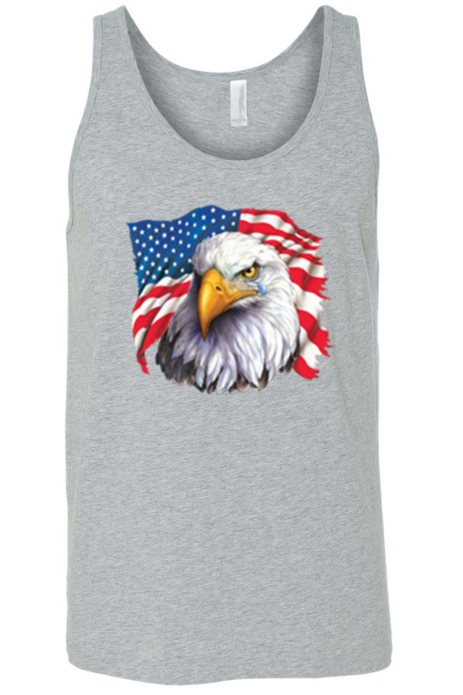 Men's USA Flag Bald Eagle w/ Tear Tank Top Shirt