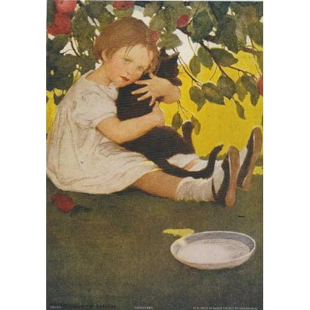 Child Hugging Cat 5x7 CARD Art Print Poster Juvenile Black Cat Vintage Retro Apple Tree