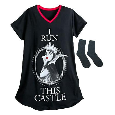 Disney Villians Evil Queen Womens' Nightshirt & Plush Lounge Socks Multi-Pack X-Small/Small
