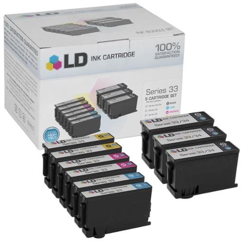 LD Compatible Set of 9 (Series 33/34) Extra High Yield Ink Cartridges for the Dell V525w & V725w Printers: 3 Black 331-7377, 2 Cyan 331-7378 , 2 Magenta 331-7379 & 2 Yellow 331-7380