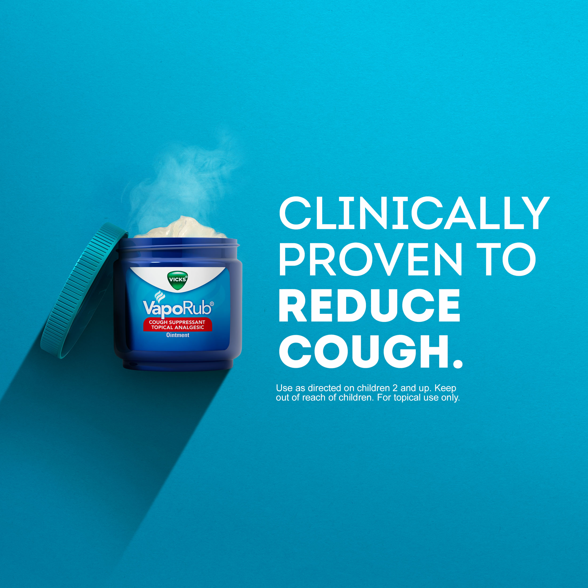 Vicks VapoRub Original Cough Suppressant Topical Analgesic Ointment 3 53  oz, Best used for relief from cold symptoms, aches, and pains
