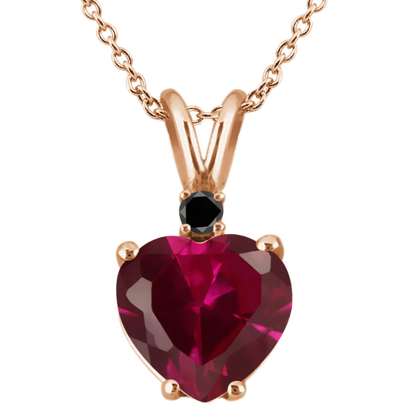 2.25 Ct Red Created Ruby Black Diamond 18K Rose Gold Plated Silver Pendant