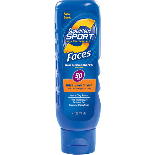 Coppertone Sport Breathable Sunscreen Faces UVA / UVB Guard Lotion SPF 50, 4 fl oz